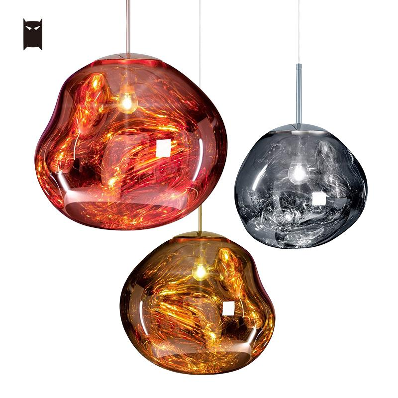 30/40cm Hand Blown Red Gold Silver Plating Stained Glass Pendant Light Fixture Modern Nordic Art Deco Hanging Ceiling Lamp Foyer branches pendant light nordic brief fashion rustic gold silver