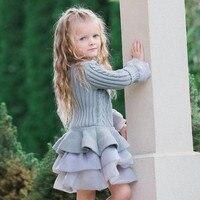 Bambini Maglione Pullover Crochet Tutu Tops Vestiti Delle Ragazze del Vestito Lavorato A Maglia di Inverno Giacca Spessa Dropshipping 0125