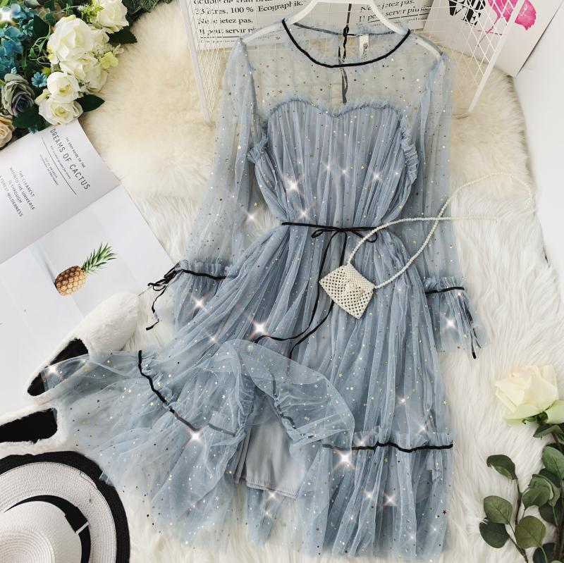 HISUMA spring autumn new women Star sequins gauze flare sleeve lace-up Princess dress female elegant o-neck mesh puff dresses 59