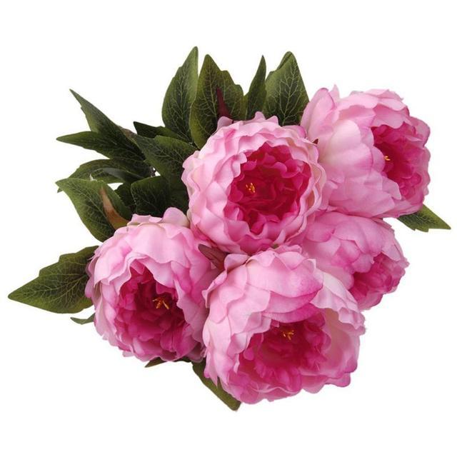 Vintage Kunstliche 5 Head Pfingstrose Silk Blumenstrauss Blume