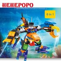 6 In 1 Combination Hot Sale 3D 6pcs Set Ocean Animal Series Deformation Funny Intelligence Building