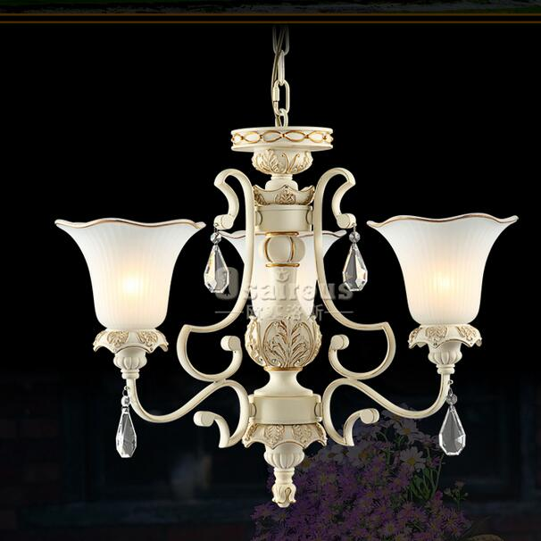 Crystal + Glass Shade lamps  Multiple Chandelier Hotel Living Room restaurant Fashion Luxury Iron  white3 heads