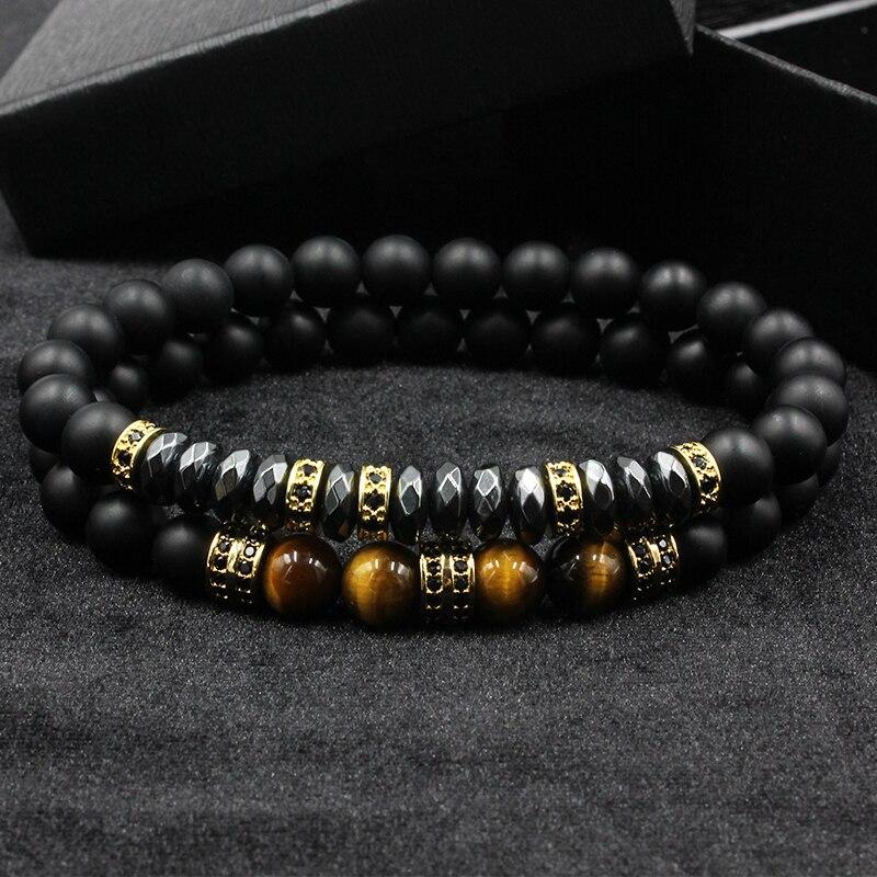 Norooni 2pcs/set Brand New Fashion Pave CZ Men Bracelet 8mm Matte Beads with Hematite Bead Diy Charm Bracelet For Men Jewelry
