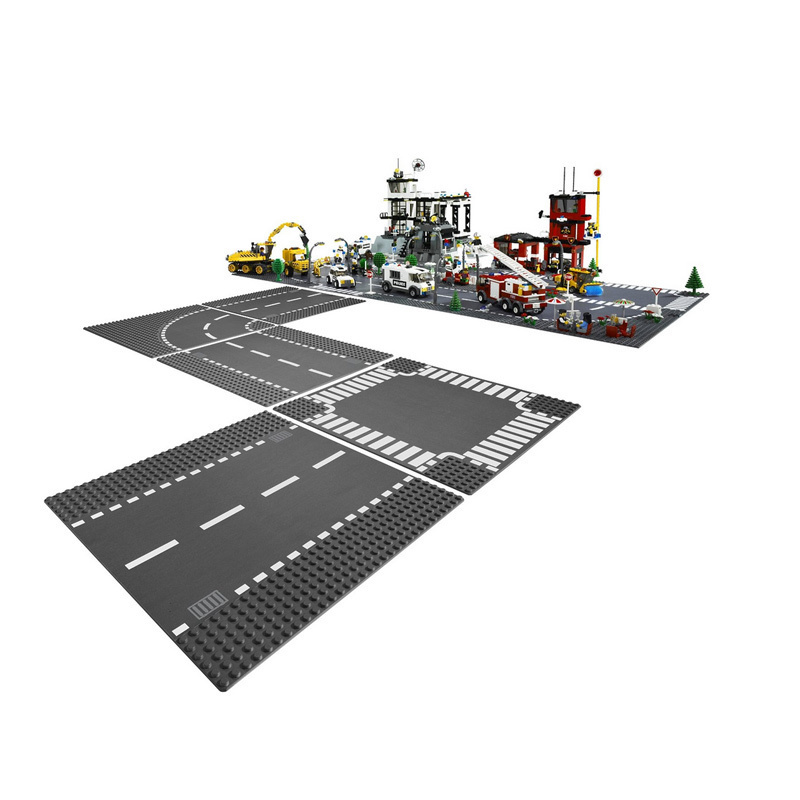 Straight Crossroad Curve T-Junction Road Plate Building Blocks Parts Bricks Base Plate Models City Street Baseplate Toys 7280 new big size 40 40cm blocks diy baseplate 50 50 dots diy small bricks building blocks base plate green grey blue