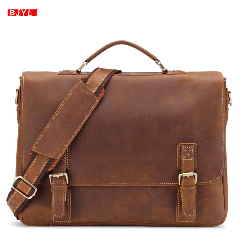 2019 Retro Crazy Horse Leather Men's Briefcase First Layer Leather Male Handbags 14 Inch Laptop Business Shoulder Crossbody Bags