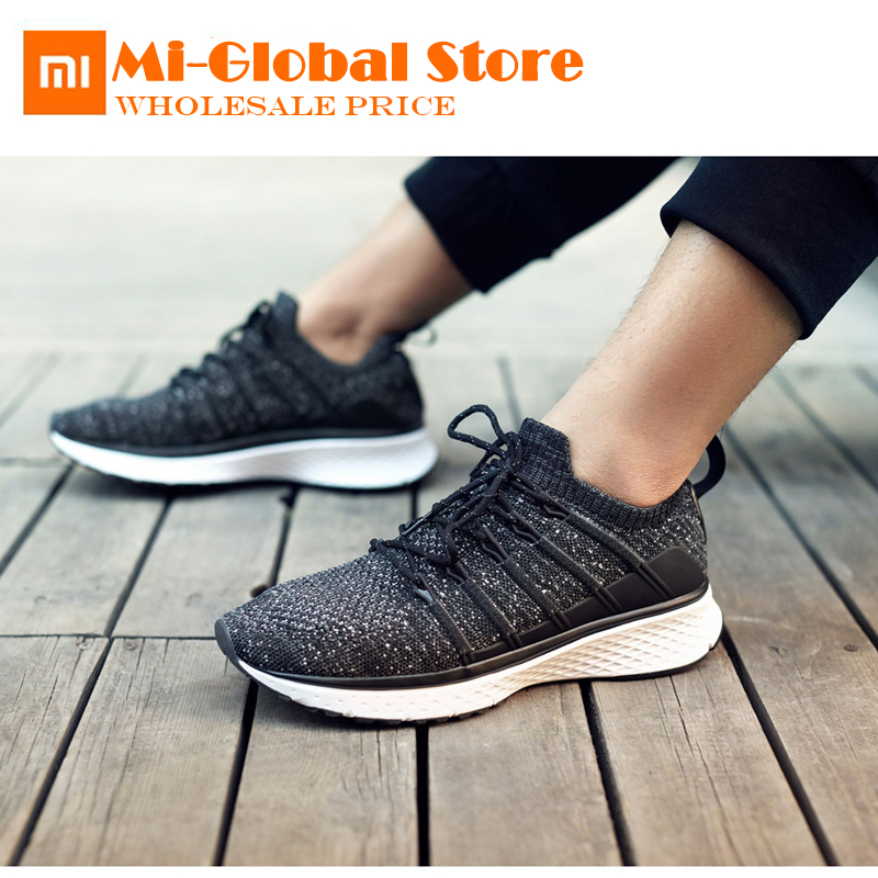 Xiaomi Mijia Sports Shoes Sneaker 2 New Fishbone Lock System Uni-Moulding Techinique Elastic Knitting Vamp Smart shoes for man xiaomi smart shoes mijia running shoes