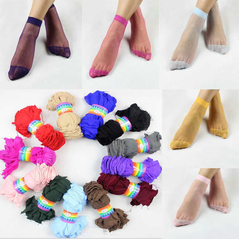 Hot Sale 10 Pairs 14Colors Fashion Women Girls Popular Casual Short Summer Transparent Elastic Crystal Silk Socks