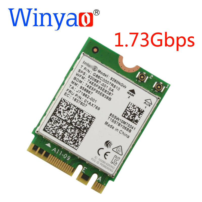 Winyao Double Bande Sans Fil-AC 9260NGW NGFF 1.73 Gbps WiFi Carte + Bluetooth 5.0 Pour 7260NGW 7265NGW 8260NGW 8265NGW version améliorée