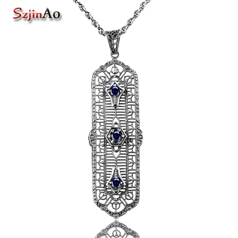 Szjinao 925 Sterling Silver Bar Long Pendant Necklaces for Women Sapphire Necklace Fashion Jewelry Christmas Lovers GiftSzjinao 925 Sterling Silver Bar Long Pendant Necklaces for Women Sapphire Necklace Fashion Jewelry Christmas Lovers Gift