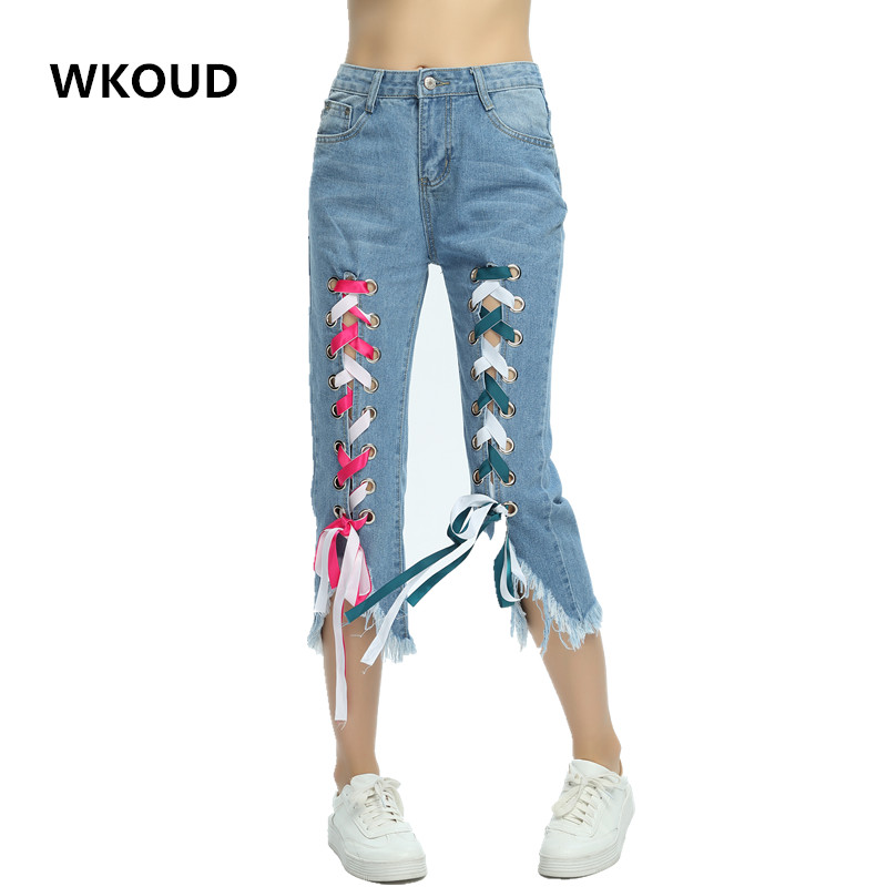 WKOUD 2017 Capris Women Colored Ribbon Bandage Holes Jeans Free To Design Straight Calf-Length Pants  Denim Trousers P8022 lole капри lsw1349 lively capris xl blue corn