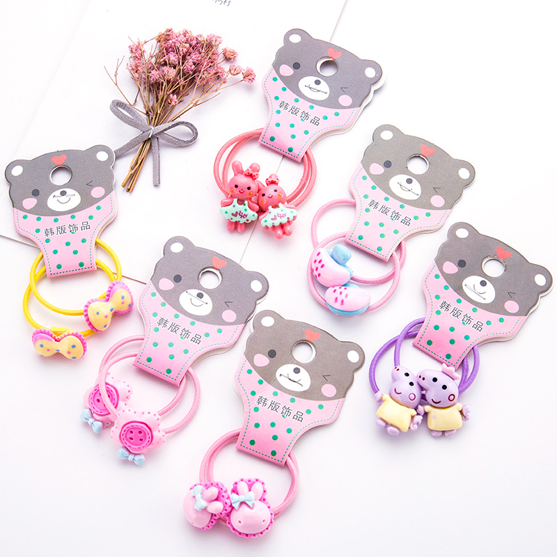 8PCS/Lot Girls Cute Cartoon Pig Rabbit Bow Hair Bands Children Headwear Ponytail Holder Headbands Hairband Kids Hair Accessories
