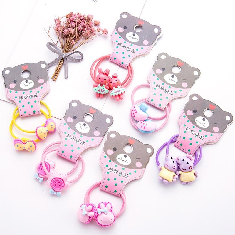 8PCS/Lot Girls Cute Cartoon Pig Rabbit Bow Hair Bands Children Headwear Ponytail Holder Headbands Hairband Kids Hair Accessories