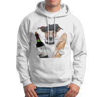 Bread wine and dog doctor Design Cotton O Neck Print White Long Sleeve Men wholesale Sweater