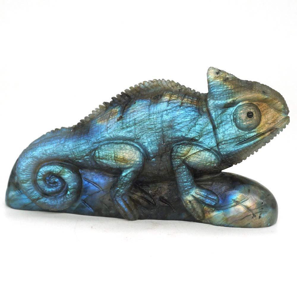Chameleon Natural Gemstone Labradorite Lizard Carved Animal Statue Decor 4.17