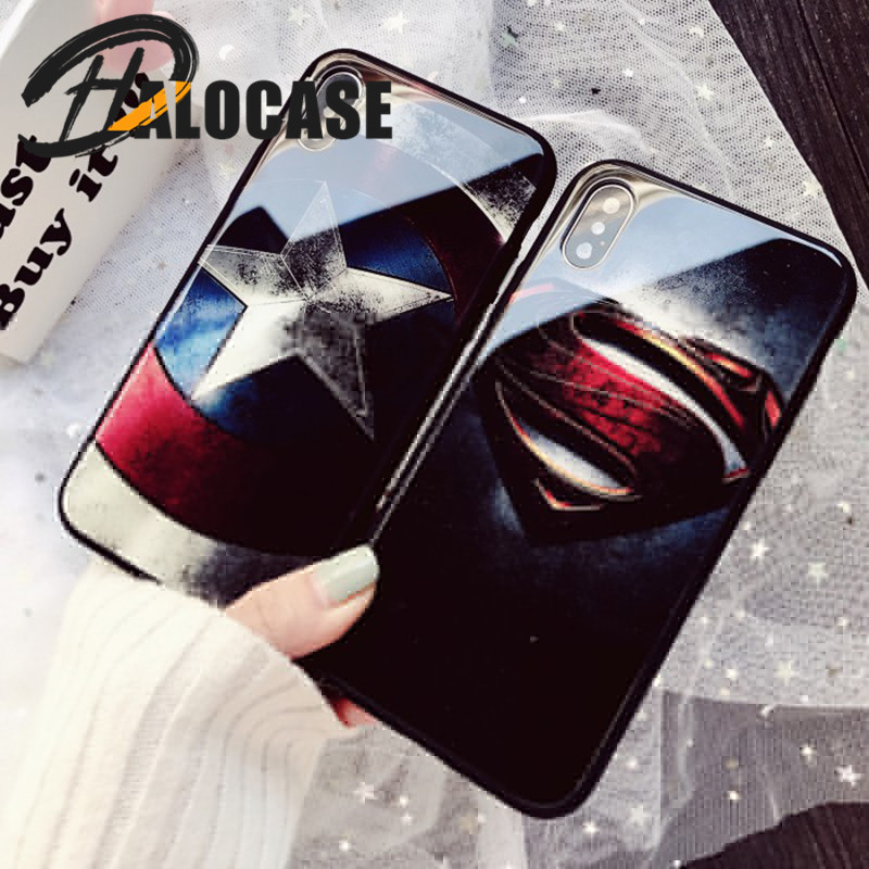 Luxury Superman Captain America Marvel Comics Patterned Tempered Glass Phone Case For iPhone XS MAX XR 8 7 6 6s Plus Cover Capa marvel glass iphone case