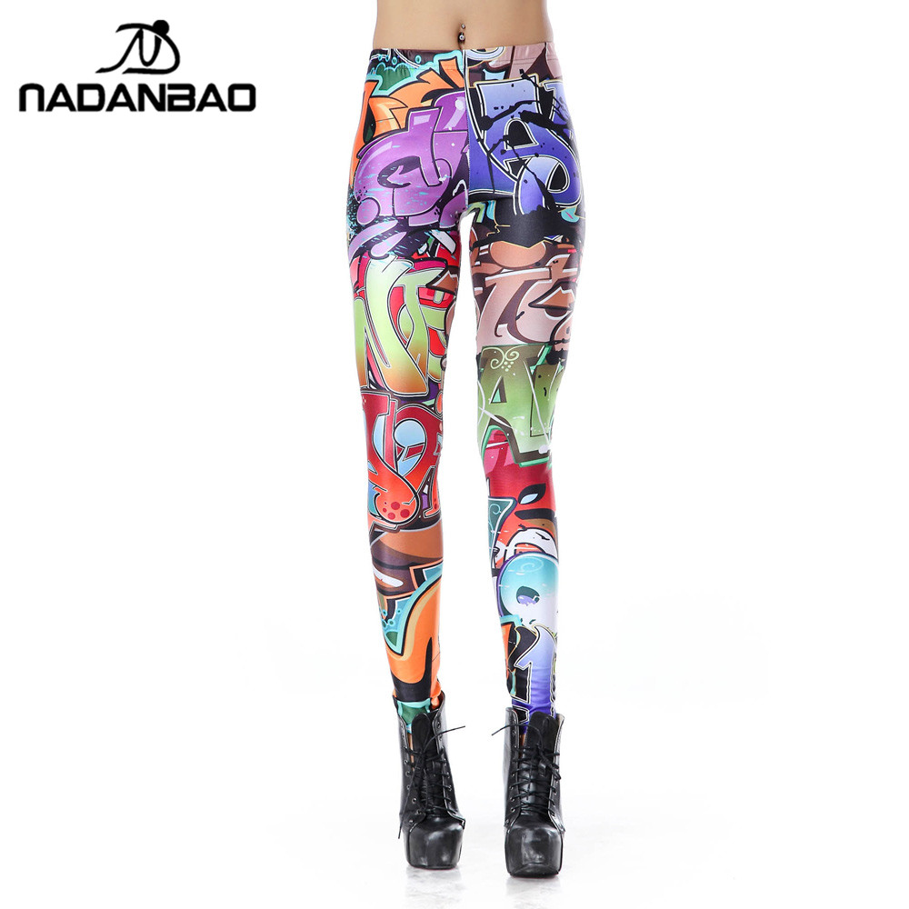 NADANBAO New Design Leggins Fashion Elastic Graffiti Spray Digital Leggins Printed Women Leggings Women Pants