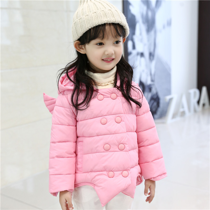 ФОТО 2016 Autumn Winter Baby Girls Snowsuit 3D Angel Style Lovely Cartoon Winter Outerwear Warm Hooded Winter Jacket Child Girl Parka