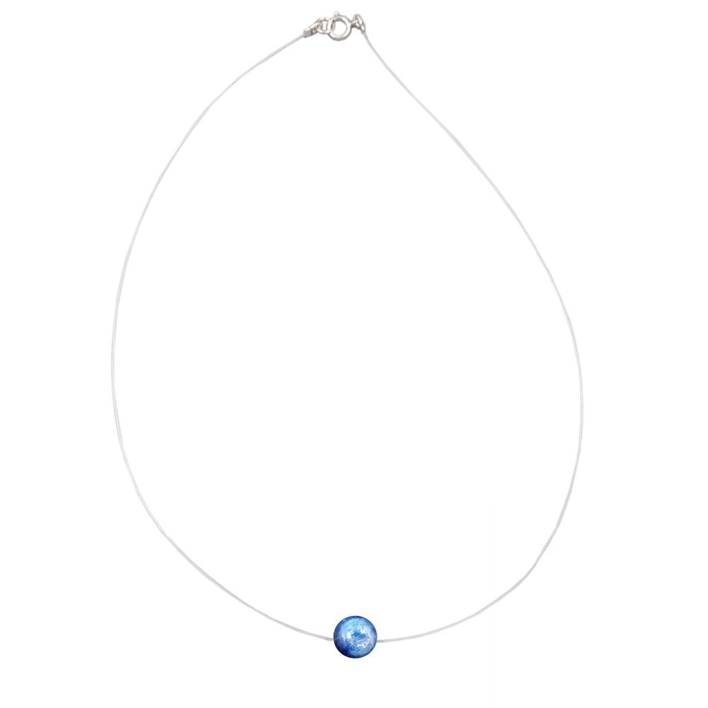 Lii Ji Edelstein Natur Kyanite 7-8mm 925 sterling silber Halsband Unsichtbare Halskette