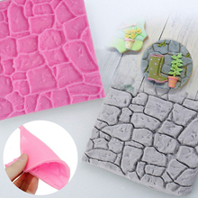 Dry Wall Formas De Silicone Mold Castle Stone Bark Cake Tools Fondant Cake Molds Cupcake Mould Chocolate Kitchen KO889835