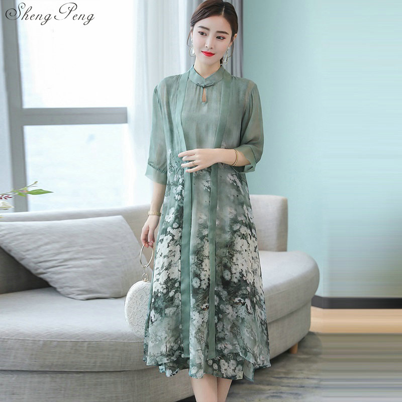 5a1c9cfe0 Vestido largo tradicional chino para mujer cheongsam elegante vestido largo  estilo chino para mujer ...