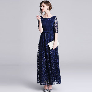 Image 3 - Borisovich 女性イブニングパーティーロングドレス新ブランド 2019 春イングランドスタイルの豪華な刺繍エレガントな女性マキシドレス N726