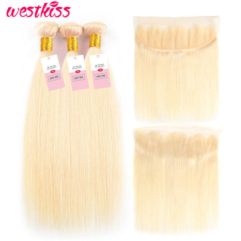 West Kiss Hair Blonde 613 Bundles With Frontal 10-24 Inch Brazilian Straight Hair Bundles With Closure Frontal Remy Hair Weave