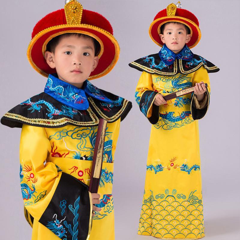 Children Photo Studio Costume Baby Boys Hanfu Clothing Royal Emperor Dragon Robe Kids Cosplay Clothing Flim Dramaturgic Clothes