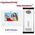Best 7'' wired color video door phone Intercom System 1 Doorbell Camera+4 Waterproof Monitors For 4 Apartments/Family 811WMH14