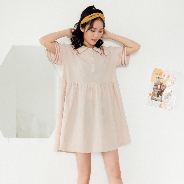Women s Sundresses Japan Kawaii Ulzzang Summer Students Loose Cotton And  Linen Dress Female Korean Harajuku Dresses e7b40a7a7
