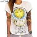 Футболка Женщины Солнце Луна Печатных Футболка С Коротким Рукавом Повседневная Лето Топы Camisetas Mujer #2415
