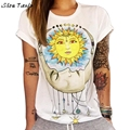 T Shirt Women Sun Moon Printed Short Sleeve T Shirt Casual Summer Tops Camisetas Mujer #2415