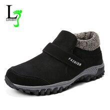 Мужские зимние ботинки г. Зимняя обувь мужские Короткие Плюшевые резиновые флокированные ботильоны мужская обувь на плоской подошве нескользящая обувь размера плюс 39-47, Botas Homb