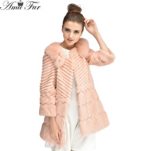 Fashion Luxury Genuine Rabbit Fur Jacket With Fox Fur Collar Long Coat For Women 2015 New Brand Real Fur Outwear 4 Colors