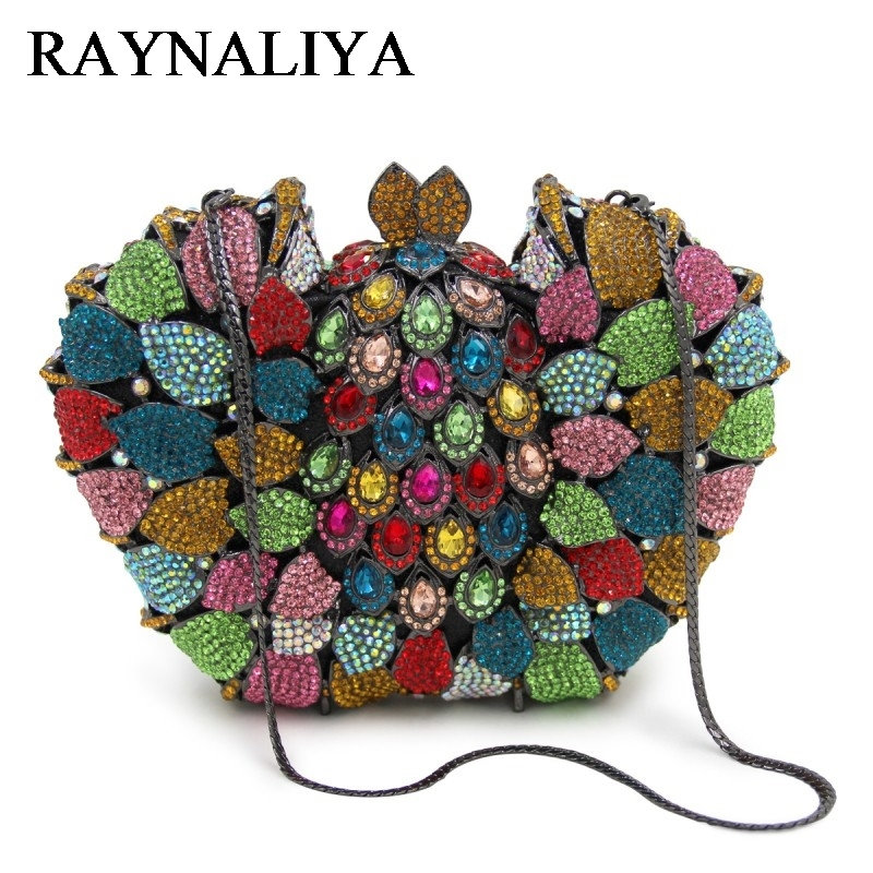 Luxury Diamante Evening Bags Octagon Colorful Clutch Bag Women Party Purse Bags Crystal Sacoche Pochette Handbags ZH-A0037 round luxury crystal stylish butterfly animal diamante evening bag clutch wedding handbag women party purse pochette banquet bag