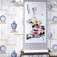 3D PVC Vinyl Study Wallpaper Chinese Classic Style Calligraphy Porcelain Tea Living Room TV Sofa Background