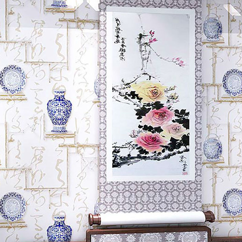 3D PVC Vinyl Study Wallpaper Chinese Classic Style Calligraphy Porcelain Tea  Living Room TV Sofa Background Wall Paper