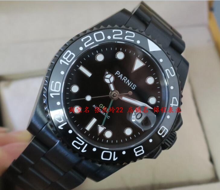 все цены на  40MM PARNIS GMT Automatic Self-Wind movement black Ceramic bezel Sapphire Crystal luminous men's watch PVD case 0139  в интернете