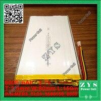 1 pcs. li ion battery 3.7v 6000mAh rechargeable battery 3.7 v 6000 mah size: 3.5x80x150mm