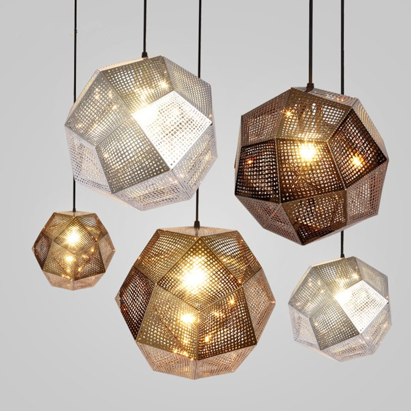 цена на Mesh brief metal pendant light geometry bar polyhedral ball pendant light personality pendant light E27