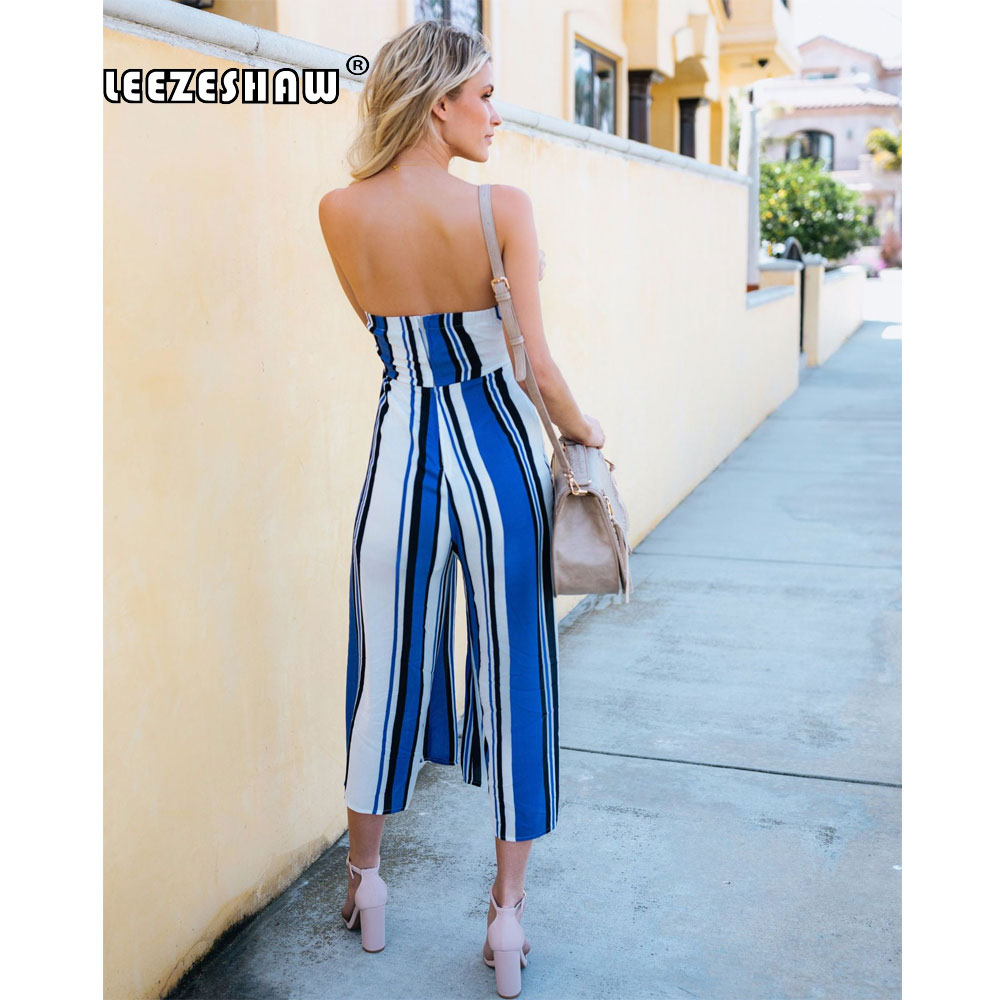 Leezeshaw Women Strapless Backless Stripe Printed Bodycon Long Party Jumpsuit Rompers