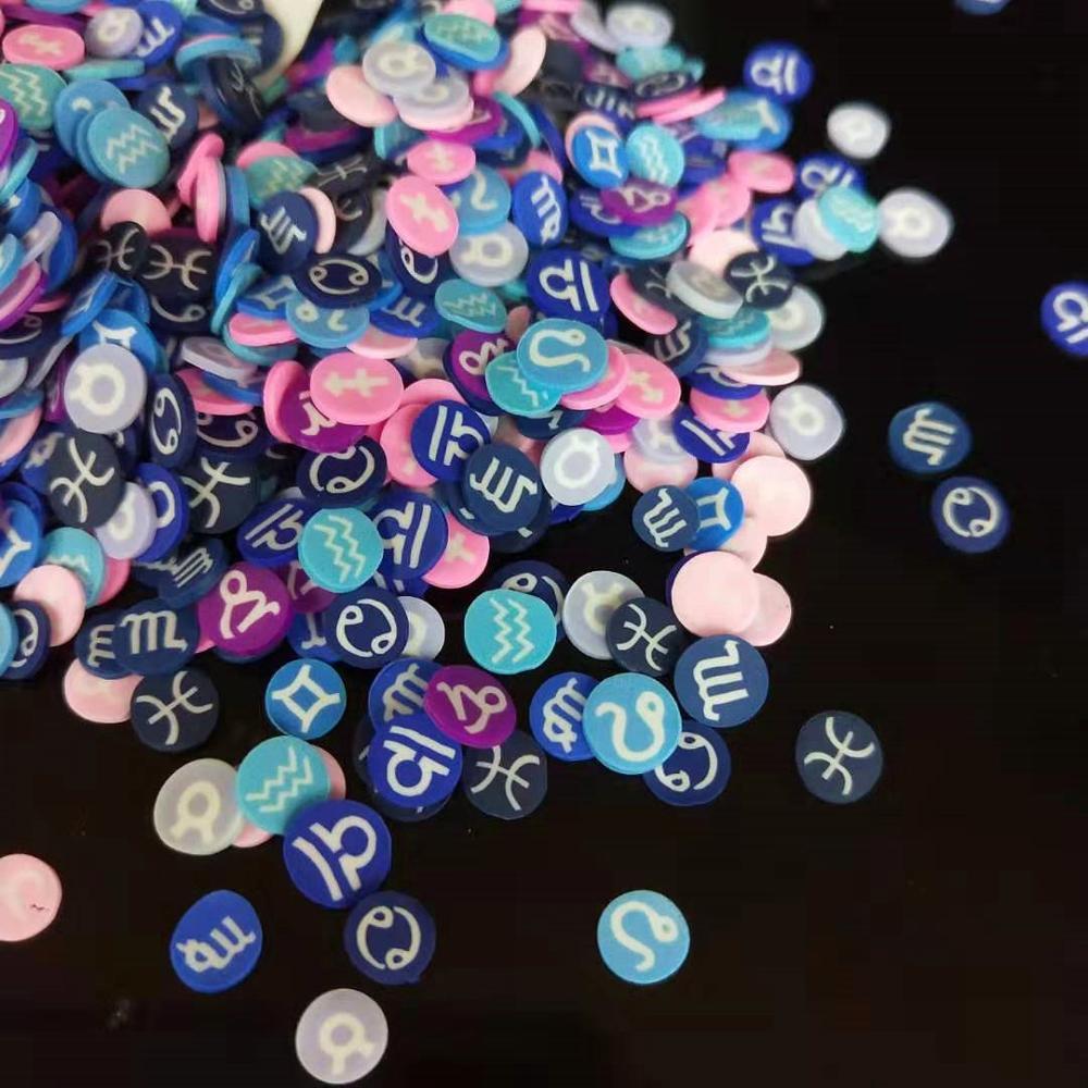 Пластмассовые наклейки со знаками Зодиака для поделок «сделай сам», аксессуары для дизайна ногтей, заполнение хрустальным слаймом, 20 г/лот