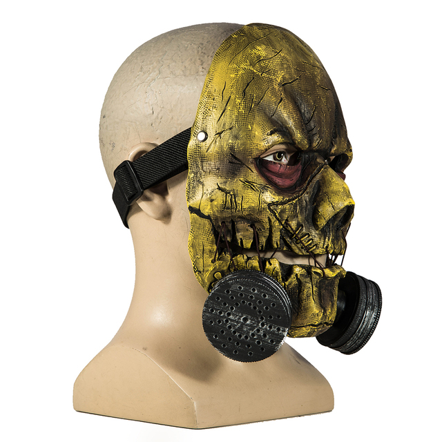 Coslive Scarecrow Mask Batman Arkham Knight PVC Full Face Mask With Adjustable Buckle Adult Scary Scarecrow Hot Halloween Mask 1