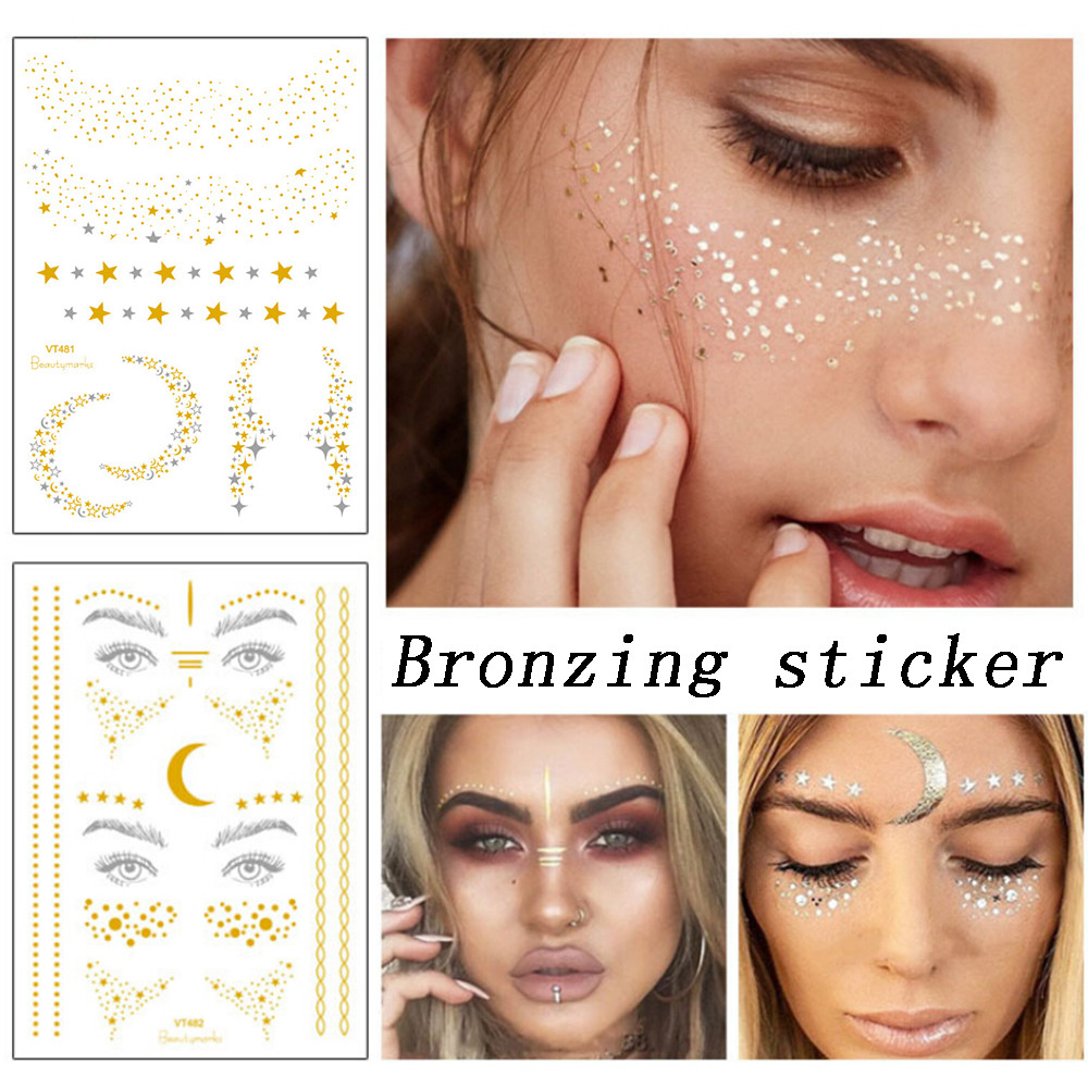 Christmas Halloween Face Gold Foil Gold Foil Sticker Tattoo StickersWaterTransfer Sticke 9.14