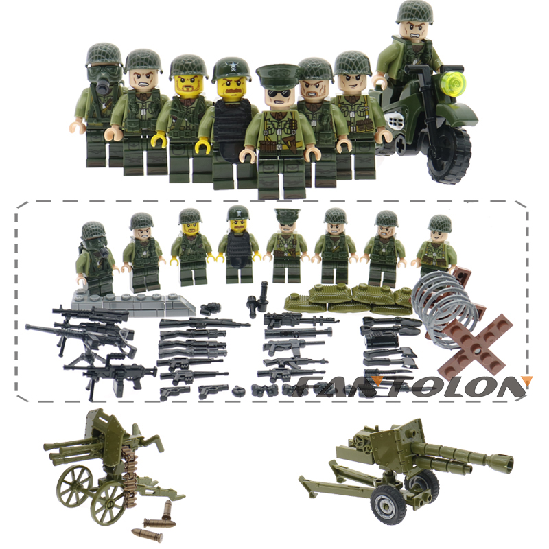 Military Building Block Sets WW2 Usa Air Force Army Soldiers With Guns Weapons Pack Model Bricks Children Toys Hobbies цена
