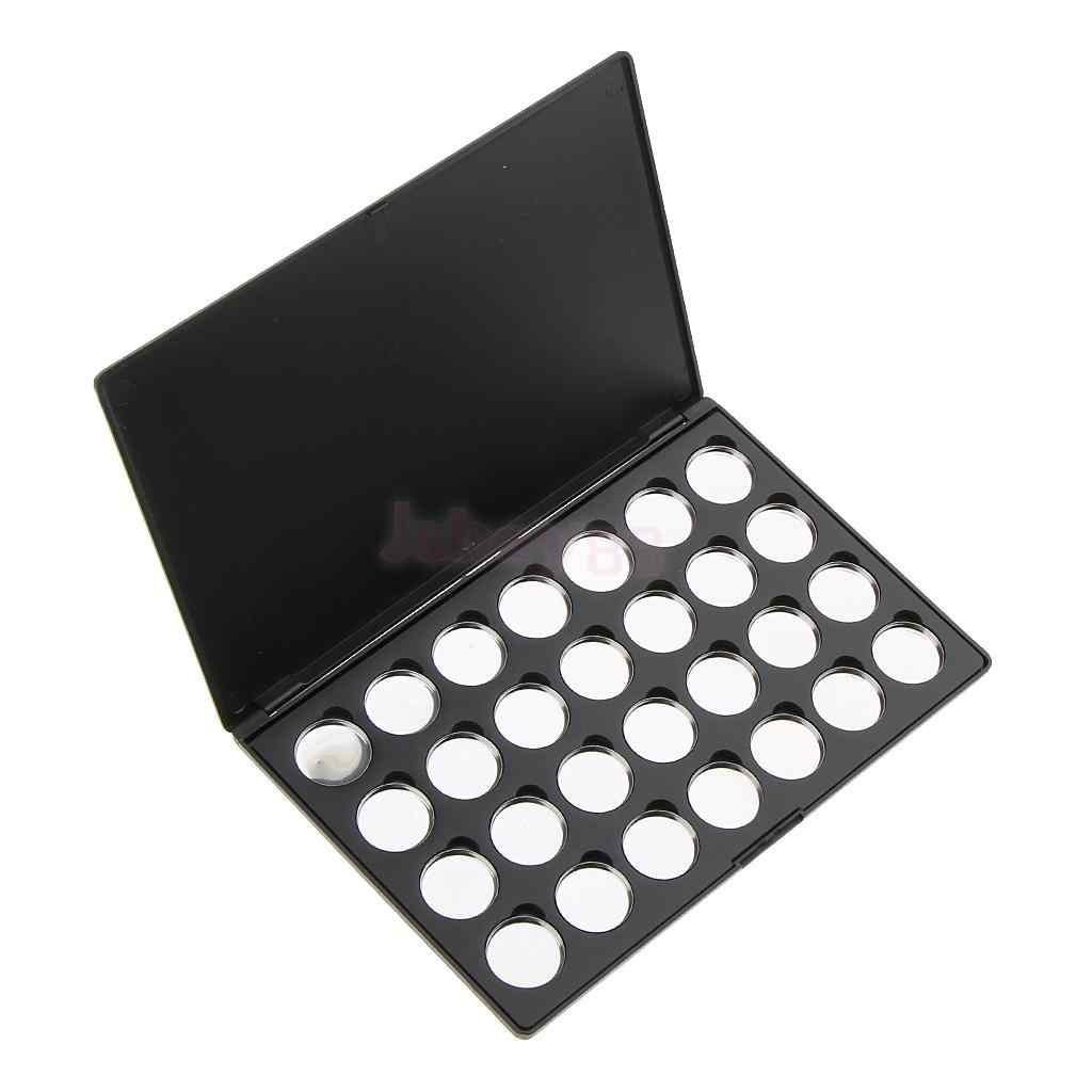 Cosmetic Travel Magnetic Empty Palette Box Eyeshadow Powder Blusher Makeup Case Organizer with 28 Round Pans Tins Set