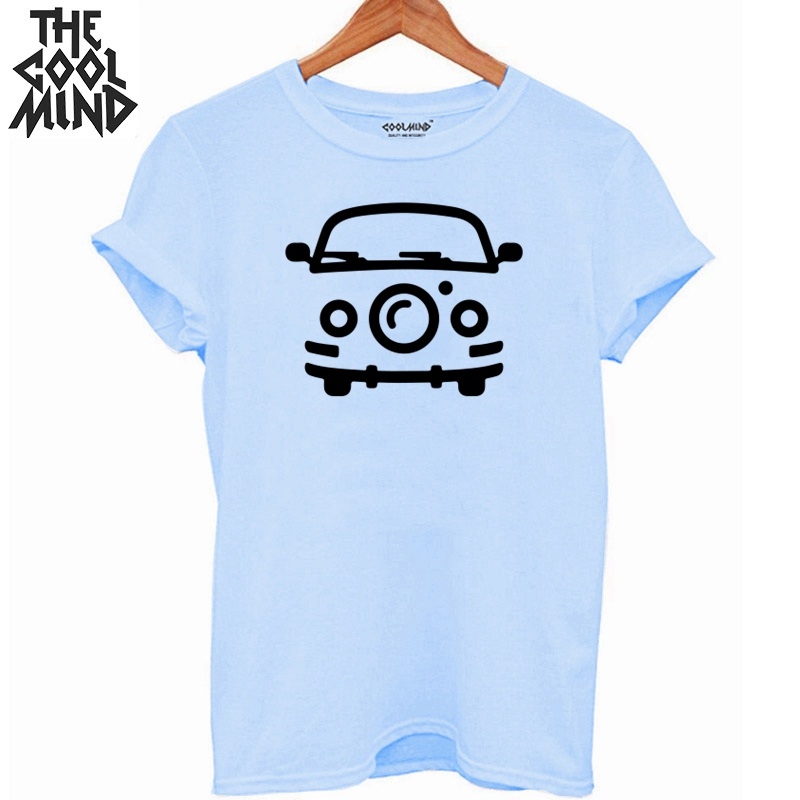 COOLMIND 100% Cotton Car Print Women T Shirt Casual O-neck Summer Women Tshirt Short Sleeve Loose T-shirt Female Tee Shirts