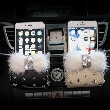 En cuir Portable De Voiture Boîte De Rangement Cristal Strass Auto Sortie Air Vent Cosmétiques Cas Universal Mobile Téléphone Sac Poche Seau