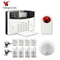 YoBang Security Russian French Voice Wireless GSM Alarm System, Home Safety Contact Smoke Sensor With Outdoor Flash Alarm Door.