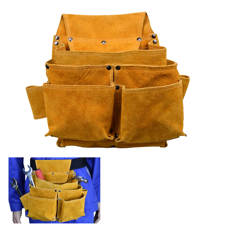New Leather labor kit, riveting welding climbing work machinery working storage Bag Electrician, pliers, multi-function pocket