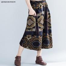 Thick Fall Spring Skirts Women Literary Vintage Geometric Print Asymmetrical High Low Skirt High Waisted Midi Skirt With Pockets ruffle trim high waisted high low skirt